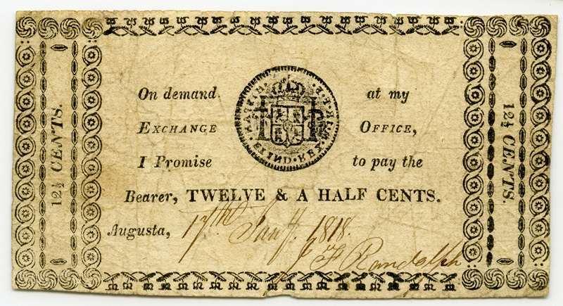 J. P. Randolph Exchange Office, Georgia, Augusta, 1818, 12 1/2 cents