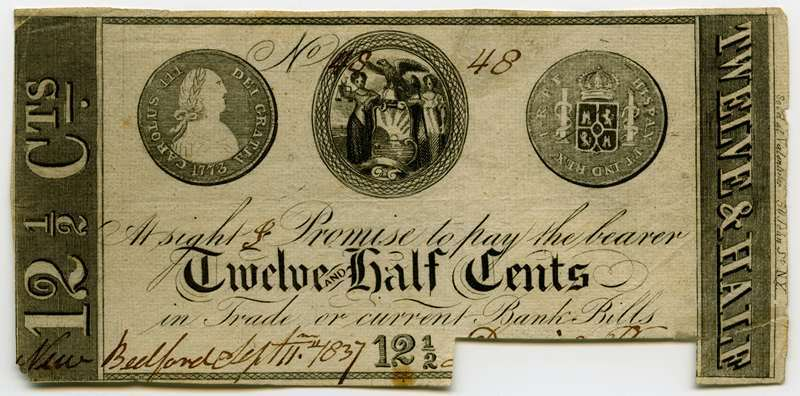 unidentified issuer, Massachusetts, New Bedford, 1837, 12 1/2 cents