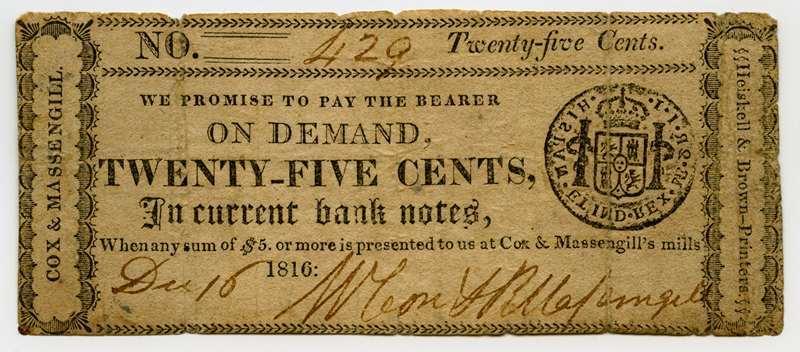 Cox & Massengill's Mills, Tennessee, Buffalo, 1816, 25 cents